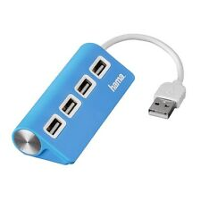 Hama HUB USB 2.0 PORTA 4 WAY Bus-Powered piccoli GRATIS PC Laptop Computer Blu