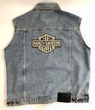 HD Harley Davidson Motorcycle Denim Jean Jacket Vest w Leather Back Patch Size M