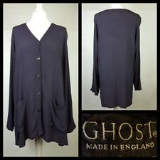 Ghost Purple High Low Collarless Crepe Shirt Blouse with Pockets Size UK M
