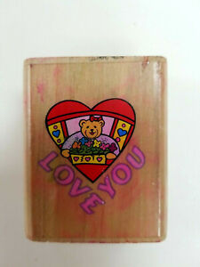 Rubber Stamp Girl Teddy Bear With Hair Bow Holding Heart Love Wood Mounted 1.25""