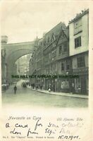 Newcastle on Tyne Old House Side Shops Street Scene England Early Postcard c1901