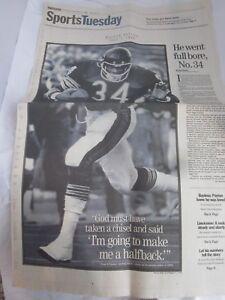 Chicago Tribune Newspaper November 2 1999 Walter Payton Paper