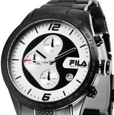 Herren Armbanduhr Chronograph Schwarz/Silber Edelstahlarmband von FILA UVP 289,-