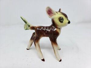 "Vintage Big Wide Eye Deer Fawn Baby Bambi Ceramic 4.75"" Figurine butterfly eye"