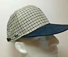 New LACOSTE L!VE Contrasting Visor Check Flannel Baseball Cap in Beige