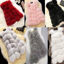 Women's Waistcoat Jacket Coat Warm Gilet Outwear Long Slim Vest Faux Fox Fur