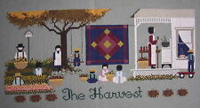 Busy Amish Family Harvest Time - Completed Cross Stitch