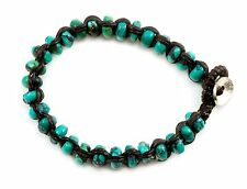 Persian Blue Turquoise Bracelet Braided Chord woven Sterling silver Clasp 7 inch
