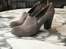 coclico 38 Taupe Suede Wooden Heel Loafer Pump