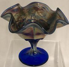 Vintage Northwood Cobalt Blue Carnival Glass Leaf Vine Ruffled Edge Compote Nice