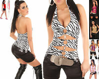 Womens Top Ladies Blouse Clubbing Party Low Back Neck Sexy Shirt One Size 6 8 10