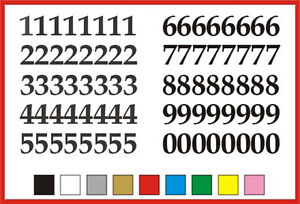 SELF ADHESIVE NUMBERS stickers graphics 0 to 9 Serif 15mm high vinyl set