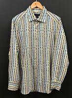 JHANE BARNES Men's Long Sleeve Blue Psychedelic Striped Shirt sz L Large