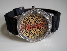 Fashion Leopard Print Jelly Silicone Rhinestone Girls Womens Quartz Wrist Watch