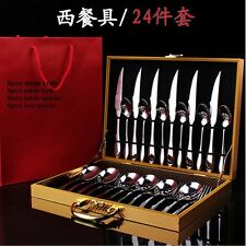 24 Pieces Luxury Silver Flatware Set Cutlery Set Dinner Set  with gold gift box