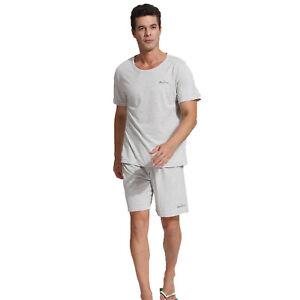 Godsen Men Cotton Pyjamas Pajama Short Set Loungewear Sleepshirt Solid Top&Pant