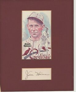 JESSE HAINES SIGNED AND MATTED PEREZ HALL OF FAME CARDINALS POSTCARD - JSA COA