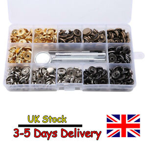 100 Sets Heavy Duty Snap Fasteners Press Studs Kit Poppers Buttons Tools UK