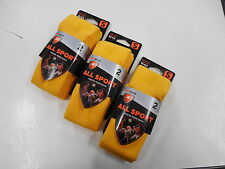 3 PCK Sofsole All Sport Youth  Sock  2 pair Yellow Youth Size 10-4.5 Small Size