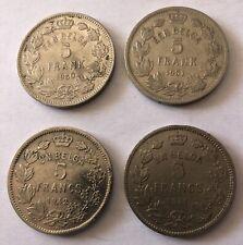 Lot 4 Pieces 5 Francs Belgique 1931,32,33 (N2621)