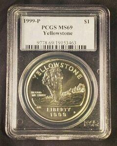 1999 P BU Yellowstone Commemorative Silver Dollar $1 PCGS MS69 Bright white