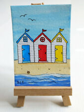 ACEO MINIATURE WATERCOLOUR PAINTING Beach Huts, Seaside, Sarah Featherstone, Art