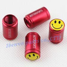 Aluminum Red Matting Car Wheel Tyre Tire Stem Air Valve Cap For Yellow Smiles