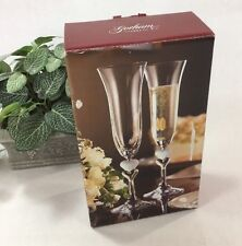 Gotham 1831 AMORE Crystal Toasting Flutes Set/2, Heart Wedding, Aniversary, NIB