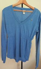 DIESEL BLUE Solid  Long Sleeve  vV-Neck  Top  Tunic Size L