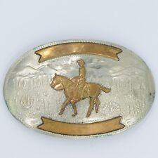Vintage Comstock German Silver Oval Belt Buckle Western Cowboy Riding Horse