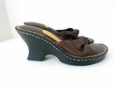 Cherokee Womens US 6.5 Medium Leather Brown Wedge Heels Slip on Sandals Shoes