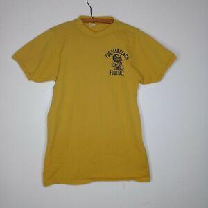 VTG 60s 70s Russell Athletic Nylon T Shirt Football Jersey Pompano Beach Gold