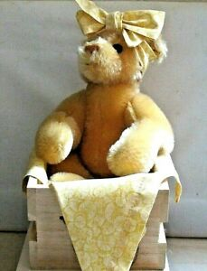 MERRYTHOUGHT TEDDY BEAR ~ LEMON SORBET ~ With Crate ~ No 91 Signed On Paw ~ 1989