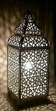 Effet vieilli ivoire crème marocain lanterne métal électrique lampe de table neuf