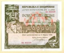 Albania Privatization Bonds 20000 leke 1997, XF. Rare Paper Money