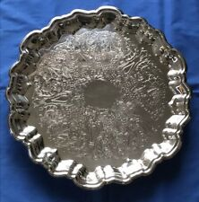 Vintage F. B. Rogers Silver Co. Crown 6091 1883 Etched Round Serving Tray, 15""