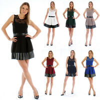 Ladies Skater Dress Skirt Black White Red Peplum Midi Lace Zip Up Bodycon Size