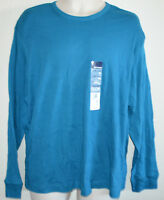 New Mens Blue Solid Crewneck Long Sleeve Cotton Henley Casual Shirt tee