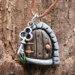 Hand made brown fairy door pendant with tiny key on brown cord #fd11