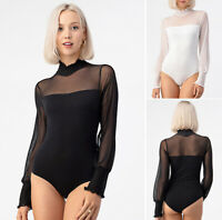 Women's Mock Turtle Neck Bodysuit Sheer Mesh Long Sleeve Stretch Cotton Knit Top