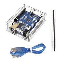 New Arduino ATmega328P CH340G UNO R3 Board + USB Cable +Acrylic Box Case Kit