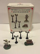 Liberty Falls 1998 Pewter Miniatures Set Of 6 Accessories Ah50 Gas Lamp Posts