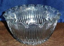Clear Ribbed Glass Upturned Banquet or Gas Lamp Shade Vintage / Antique
