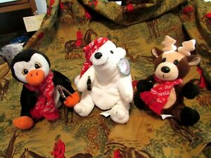 Christmas Coca Cola Polar Bear- Penguin & Reindeer Snowflake Scarves & Cap MWT's
