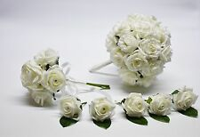 Ivory Bridal Bouquet with Posy and 5 Buttonholes - Bride, Groom & Guests