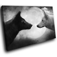 White Black Wolves Moon Funky Animal Canvas Wall Art Large Picture Prints