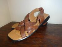 DUCK HEAD Brown Leather Women's Shoes Slides Low Sandals 6.5 Woven Sling Backs