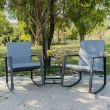 3 PCS Outdoor Patio Rattan Wicker Furniture Set Chair Cushioned Deck Black