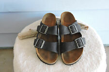 Women's Birkenstock Arizona Slide Sandals Black Nubuck Leather 38/7N