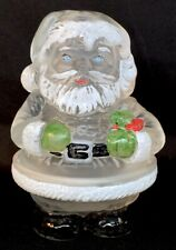 Mosser Art Glass Hand Painted Crystal Satin Santa Candle Light Discontinued Item
